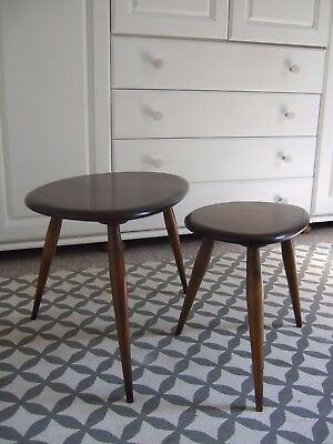 Pair of Ercol pebble nest tables small & medium vintage 1960's mid century Heals