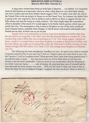 1816 Sussex - Pre-Stamp Step Type Framed Brighton Ship Letter To Dublin Ireland