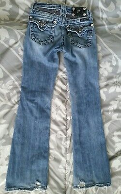 girls youth MISS ME Distressed Boot Cut Jeans size 10 glitter bling