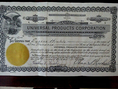 1928 Stock Certificate, Universal Products Corporation, Nevada