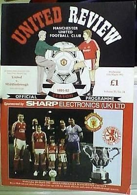 MANCHESTER UNITED v MIDDLESBROUGH 91-92 FOOTBALL LEAGUE CUP SEMI FINAL
