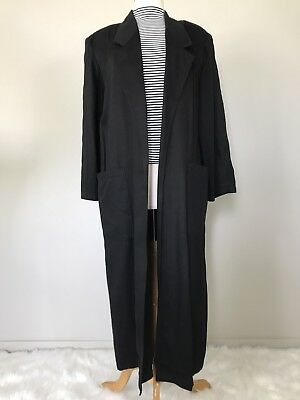 Vtg Black Drape Collar Long Duster Trench Jacket Blazer Open Pockets Large?