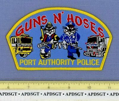 PORT AUTHORITY NEW YORK CITY GUNS 'N HOSES NYC Fire Police Patch CARTOON COP