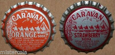 Vintage soda pop bottle caps CARAVAN camels Collection of 2 diff plastic lined