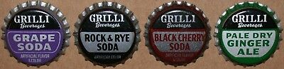 Vintage soda pop bottle caps GRILLI BEVERAGES Collection of 4 different unused