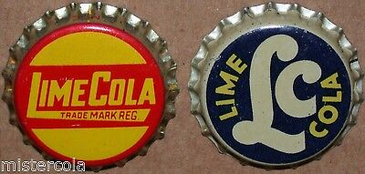 Vintage soda pop bottle caps LC LIME COLA Collection of 2 different cork lined