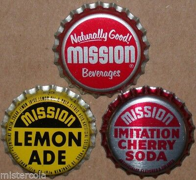 Vintage soda pop bottle caps MISSION Collection of 3 different new old stock