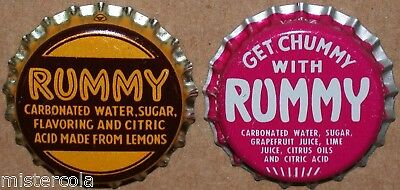 Vintage soda pop bottle caps RUMMY Collection of 2 different new old stock cond