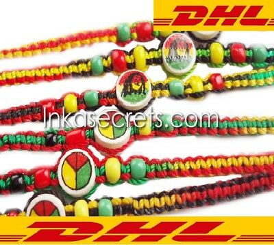 Free Shipping with DHL - 1000 Rasta Friendship Bracelets with Ceramic Beads