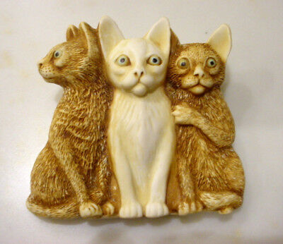 HARMONY KINGDOM Trio of Cats Kittens PIN BROOCH Made in England Excellent!
