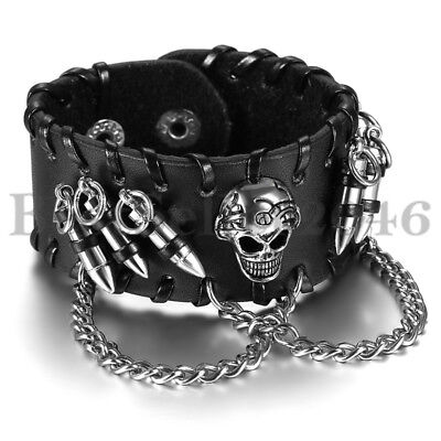 Men's Gothic Rock Punk Skull Chain Wide Leather Bullet Charm Wristband Bracelet