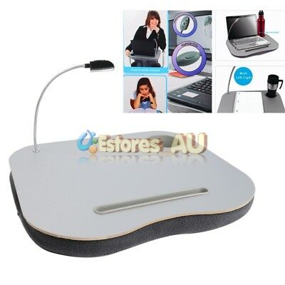 Portable Laptop Table Bed Tray Cushion Lap Desk Notebook with LED Lamp Light【AU】