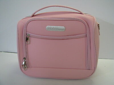 New JIBERE DE PARIS Pink Canvas COSMETIC TRAVEL BAG LUGGAGE Semi-Hard Case NICE!