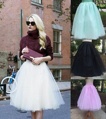Lady Princess Tutu Skirt Fancy 5Layer Dress Fairy Gauze Tulle Ballet Party Gift