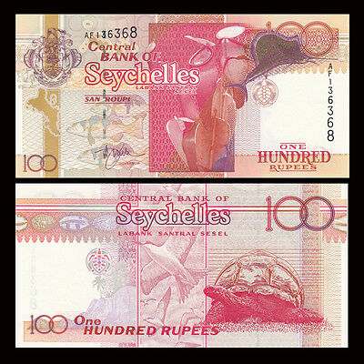 Seychelles 100 Rupees, ND(2001), P-40a, black number, UNC