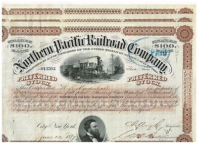 Set 3 Northern Pacific Railroad Co., 1870s, Preferred Stock, 100 shares, brown