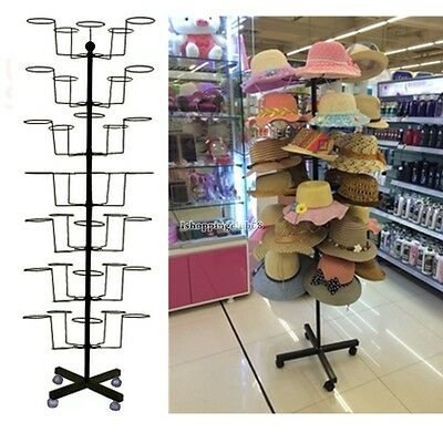 Retail 35 Hat Rack Cap Display Rotating Spinner Store Floor Stand Hat Holder@
