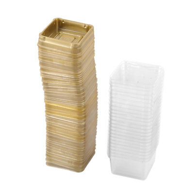 Home Plastic Square Moon Cake Muffin Box Container Holder Cover Gold Tone 50pcs