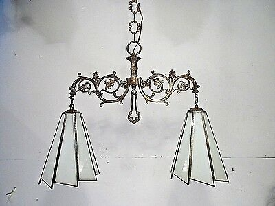 Antique Vintage Chandelier Billiard Slag White Glass Shade Light Fixture Pendant