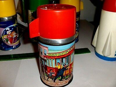 Cable Car`1962`Aladdin Industries Inc,Metal Lunch Box-Thermos->Nice->Free To US