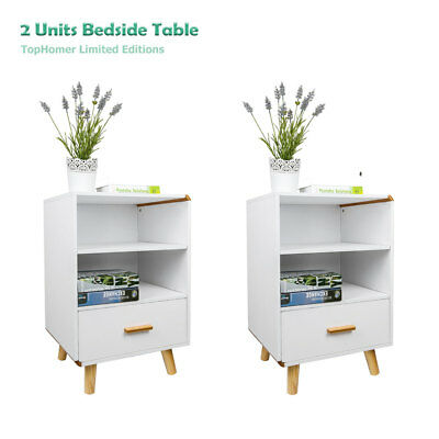 2x Modern White Bedside With Drawer Wooden Cabinet Side Table Nightstand Storage