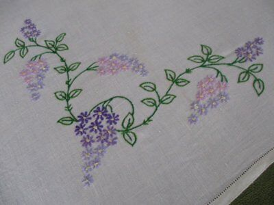 Vintage Tablecloth - Lilac Flowers - Hand Embroidered - Linen