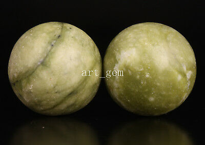 2 Authentic Natural Jade Body Health Massage Ball Hand Play Collectable