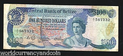 Belize 100 Dollars P50 1983 Queen Bird Lizard Fish Rare Caribbean Money Banknote