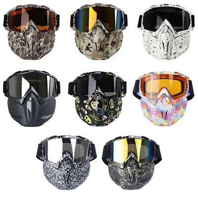 Racing Detachable Modular Motorcycle Helmet Protective Face Mask Shield Goggles