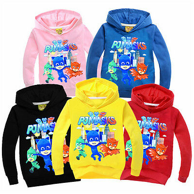 Kids PJ Masques Gekko Owlette Catboy Sweatshirt Hoddies Cotton Clothing Sweats