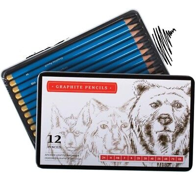 12 HB Professional High Quality Graded Pencils Shading Artist Drawing Sketch