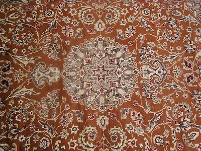 EXCLUSIVE BURNT RUST FLORAL HAND KNOTTED RUG WOOL SILK CARPET 9x6 RARE FB-2293