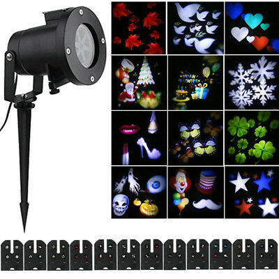 AU! Outdoor Xmas Halloween LED Moving Snowflake Lawn Garden Light Projector Lamp
