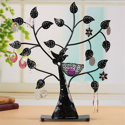 Bird Nest Jewelry Tree Earring Holder Bracelet Necklace Organizer Stand Black
