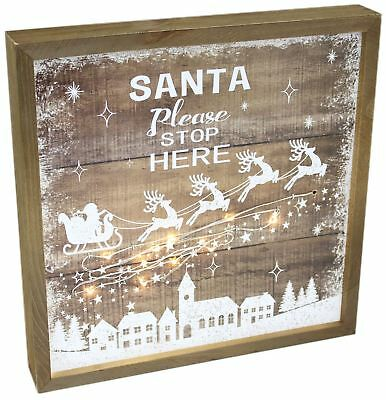Light Up LED Wooden Father Christmas Santa Stop Here Plaque Decoration