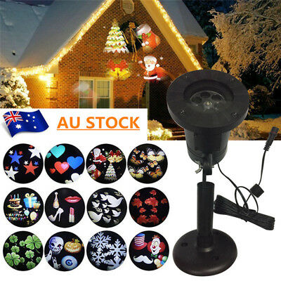 12 Patterns Outdoor Moving Snowflake LED Laser Light Projector Xmas Garden Lamp