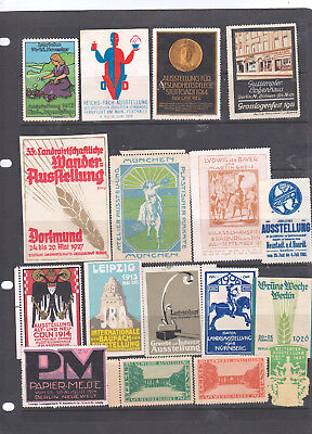Poster Stamps, A Collection Of 17 German Exhibition Labels