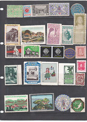 Poster Stamps, A Collection Of 26 Various Countries Labels