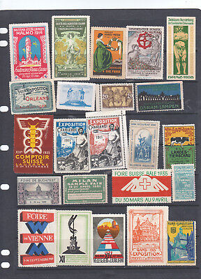 Poster Stamps, A Collection Of 23 Various Countries Exhibition Labels