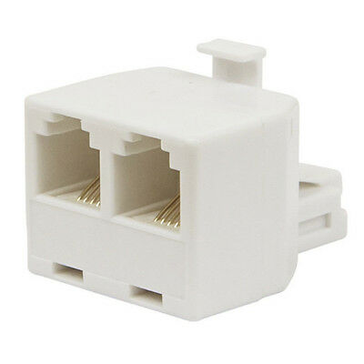 Telephone Line Wall Adapter White Plug To STD-Aus Socket & 6P4C (RJ11)Socket Pop