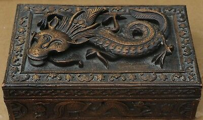 Old Unusual Highly Carved Wooden Box With Dragon Type Creature On Lid