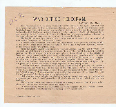 Military, Wwi, War Office Telegram, C. 1917?
