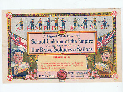 Military, Wwi, Child's Christmas Certificate Of Gratitude, 1916