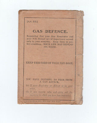 Military, Wwi, Booklet, Gas Defence Instructions, 1916
