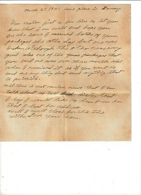 Ww2 1945 Letter From Son To Mother From Germany With Envelope-Reeseville, Sc