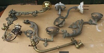 Selection Of 6 Old Brass Light Fittings That I Think Were Gas Or Similar Spares