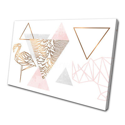 Geometric Flamingo Rose Gold Single Print Picture Canvas Wall Art Prints Unframe