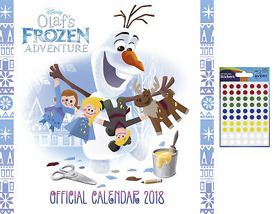Disney Olaf's Frozen Adventure Official 2018 Calendar - 70 Coloured Dot Stickers