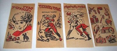 Davy Crockett Original 1950s NOS (4) Red Iron On Transfer Decals Cowboys Indians