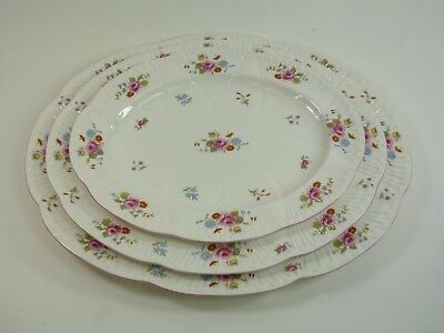 SHELLEY China - Rose & Red Daisy - Dainty Shape - 13425 - 3 Graduated Platters